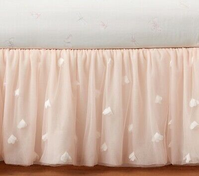 NWOT Twin Pottery Barn Kids & Monique Lhuillier Ethereal Tulle Blush Bed Skirt