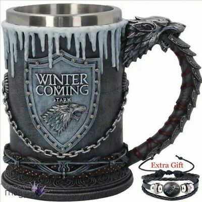 Game of Thrones Hand Made Stainless Steel Mug Winter is Coming + 1 Free Gift.