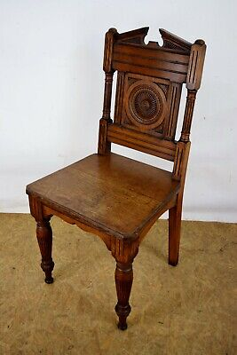 Victorian Oak Hall Chair, Antique Carved Oak Chair, Old Solid Oak Hall Furniture