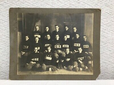 Antique Football Cabinet Card Photo Lincoln High School Grand Rapids Wisconsin