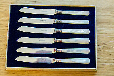 Vintage Antique Silver Plate Mother Pearl Handled Butter Cake Knives