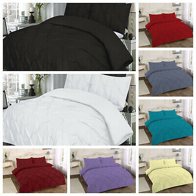 Pintuck Duvet Set Percale Quilt Cover Single Double Super King Size Bedding