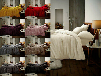 Teddy Bear Fleece Fitted Sheet OR Duvet Cover Set Sherpa Thermal Warm Bedding