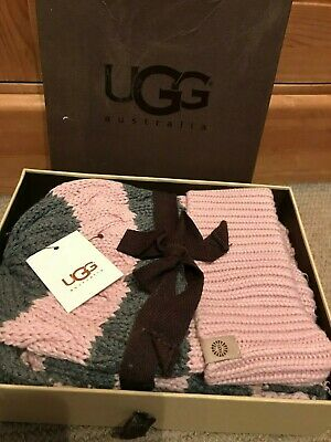 Ugg Australia Pink/Grey Woolly Striped Hat And Scarf Set