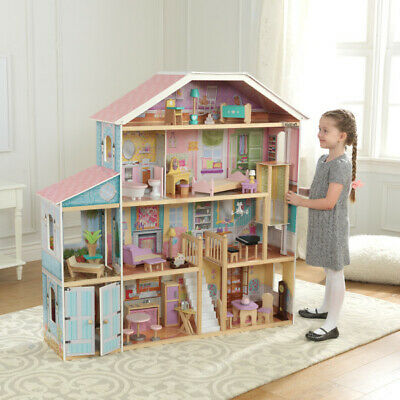 Wooden Grand View Mansion Dollhouse with EZ Kraft Assembly by Kidkraft