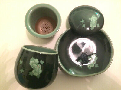 x 2 Sets Handmade Ceramic Porcelain Tea Cup infuser with filter Cup Korean made