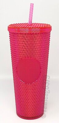 NEW Starbucks 2019 Venti Bling Iridescent Hot PINK Studded Cup Tumbler