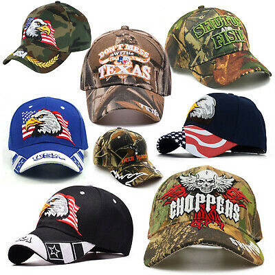 American style Biker Baseball Cap | Cool outdoor camo USA Texas embroidered Hat