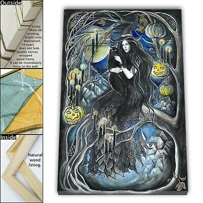 """16""""x22""""Witch Cat HD Canvas print Framed Painting Home Decor Picture Wall art"""