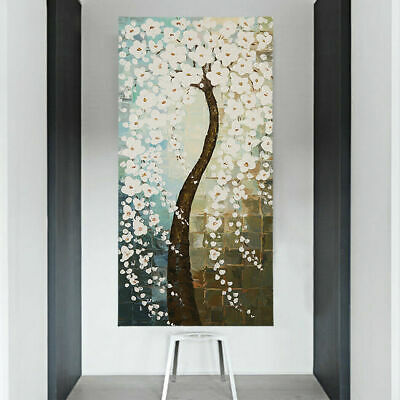 Framed Hand Painted Modern Abstract Flower Tree Oil Painting Stretched Canvas