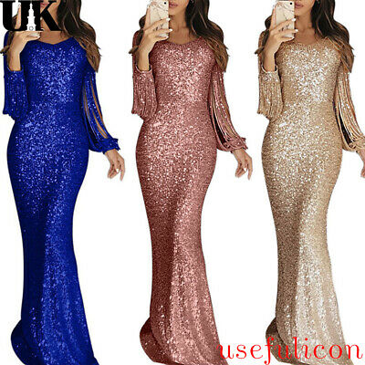 Women Glitter Tassels Dress Formal Evening Prom Wedding Party Cocktail Ball Gown