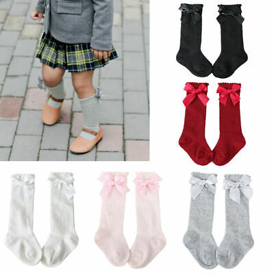 Kids Toddler Baby Girls Cotton Bowknot Knee High Long Socks Stockings 0-7Years