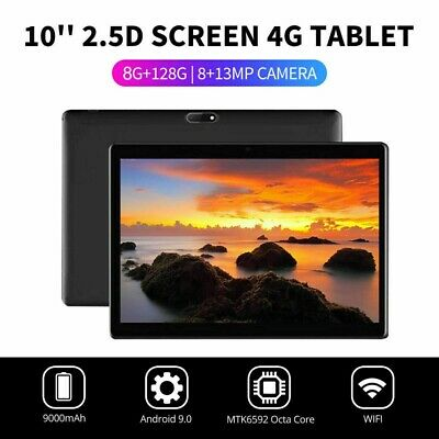 """10.1"""" PC Tablet 8+128G WIFI/4G-LTE Android 9.0 HD Screen Dual SIM Calling GPS"""