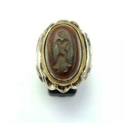 Sterling Silver Antique Roman Seal Genuine Banded Agate Engraved Ring 12.25US