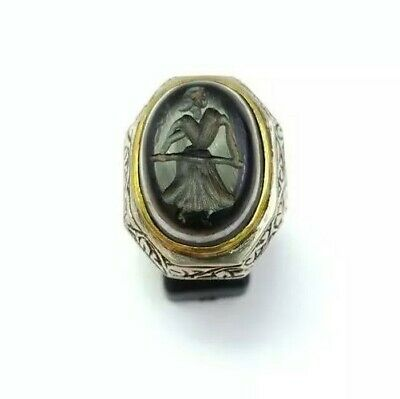 Sterling Silver Antique Roman Seal Genuine Banded Agate Engraved Ring 10.75US