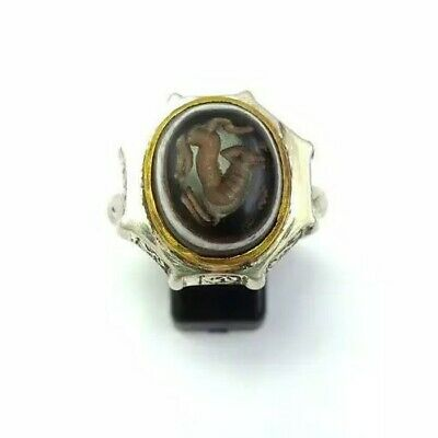 Sterling Silver Antique Old Roman Seal Genuine Agate Horse Engraved Ring 12.25US