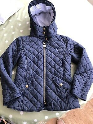 Girls Joules Quilted Coat/jacket, Navy, Age 7, Fitted. Great Condition