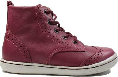 Ricosta Jenny Pink  Leather Girls Lace/Zip Up Brogue Boots