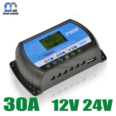 1X 12V/24V Auto With USB 30A PWM Solar Panel Controller Battery Charge Regulator