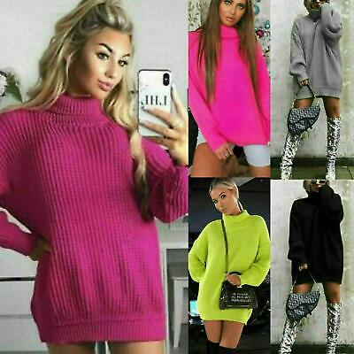 Womens High Polo Roll Neck Chunky Knitted Fluorescent Tunic Neon Jumper Dress