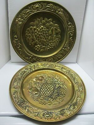"Vintage Set of Two Brass Wall Plates Made in England 14.5"" Fruit Designs"