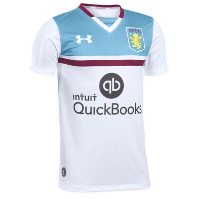 Aston Villa FC Childrens Football Shirt White Away Under Armour Jersey 2016 2017