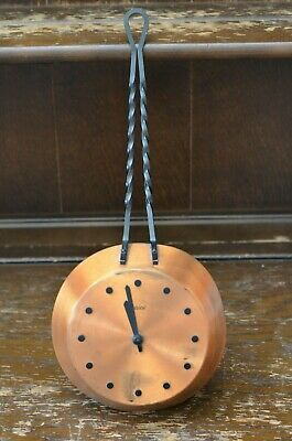 Lovely Vintage Copper Frying Pan Wall Clock *Not Working* 40cm Long