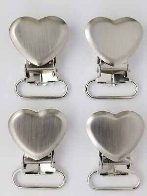 Heart Shaped Pacifier Clip,  Nickel Plated Brass, 25 Pieces,  Free Shipping Usa