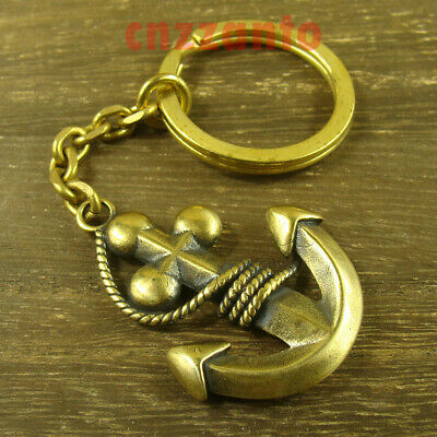 Totally Solid Brass Nautical Anchor Key Chain ring pendant + cable chain H560