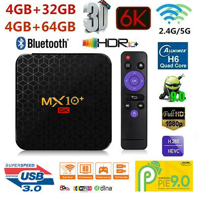 6K MX10 Plus Smart TV Box Android 9.0 4Go/64Go 2.4G/5G WiFi Lecteur multimédia