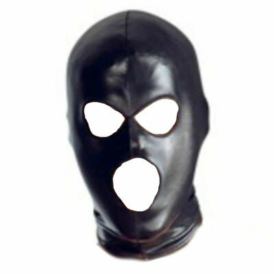 Black Mask Hood Fetish BDSM Mistress Faux Leather Latex PVC FREE P&P