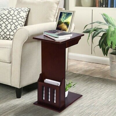 Magazine Rack Side Table End Wood Snack Slide Under Sofa