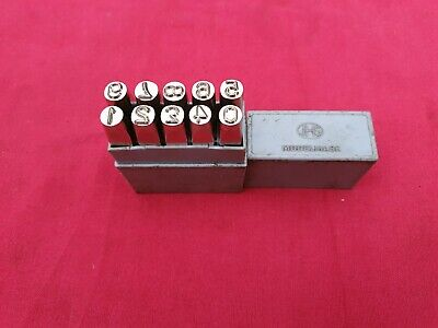 Set of J H Shand Number Punches 0-9 In Very Good Little Used Condition 6mm 1/4""