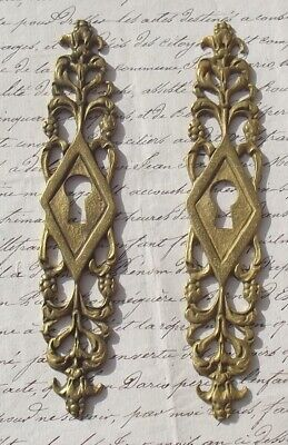 Pair Antique French escutcheon Vintage gilded bronze decorative key hole cover