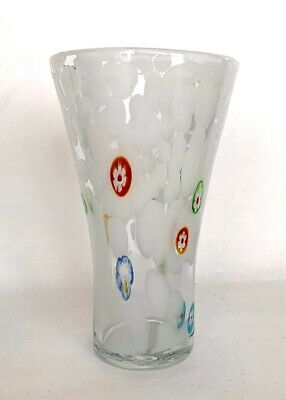 """VINTAGE Millefiori Murano Glass Art 6.25"""" VASE White/Clear Various Color Canes"""