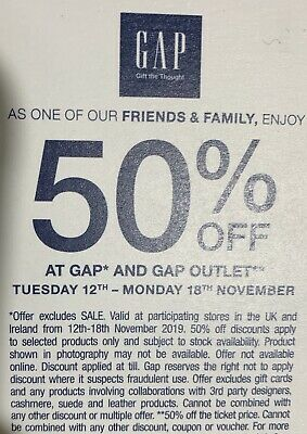 Gap 50% off Voucher. Valid From 12th Nov to 18th November 2019.