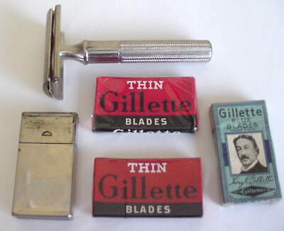 Vintage GILLETTE FAT HANDLE TECH DE RAZOR  BLADES & RAZOR BLADE MATCH CASE
