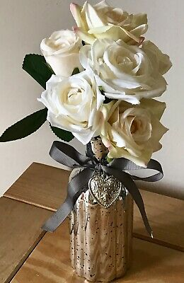 Home Decor Artificial Silk Flower Arrangement Cream Ivory Roses In Trinket Heart Charm Vase Home Furniture Diy Breadcrumbs Ie