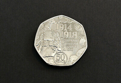 IOM 50p fifty pence coin WW1 Armistice Day Remembrance Poppy (AI35)
