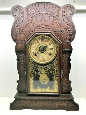 Antique Mantel Clock Elaborately Hand Carved (Sessions?) - Works