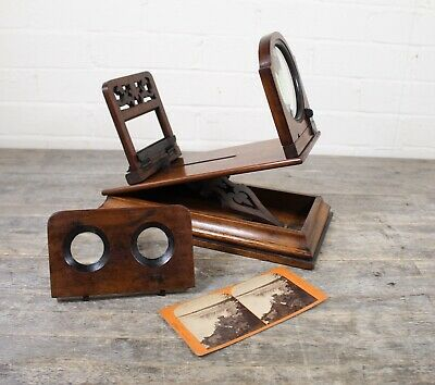 Antique 19th Century Victorian Burr Walnut Wood Stereo Viewer Stereo Scope.