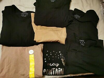 Ladies Black And Tan Casual Plain Basic Tops T Shirts Bundle Size 16 Stretchy...