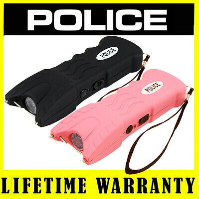 POLICE 916 Rechargeable Stun Gun LED Flashlight - (Black and Pink)