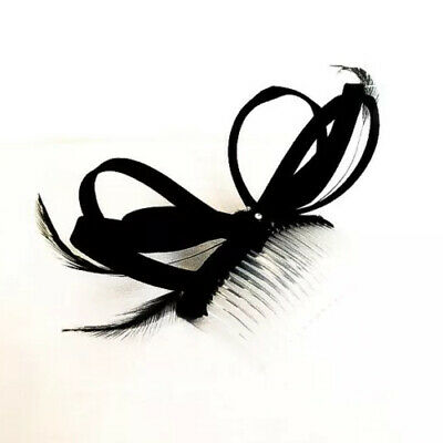 Black Bow And Feather Fascinater/hair Accessory- Comes Boxed