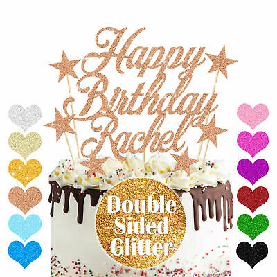 Personalised Happy Birthday Cake Topper Double Sided Glitter Custom Any Name