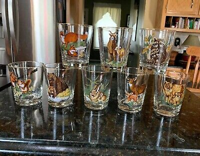 8 Different Vintage Gold Trimmed Mother & Baby Animals Drinking Glasses Low Ball