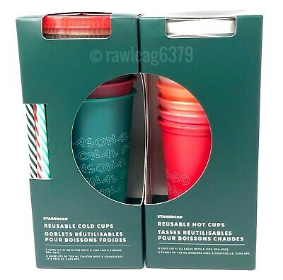 SET of NEW LE Starbucks 2019 Holiday Christmas Reusable Cold Cups and Hot Cups!