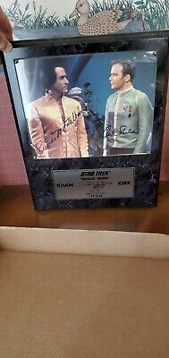 Star Trek Rare William Shatner Ricardo Montalban Autograph Plaque 775/2500 KHAN