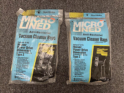 6 Bags - Micro Lined Type Z Vacuum Cleaner Bags Hoover Power Drive Dimension NEW