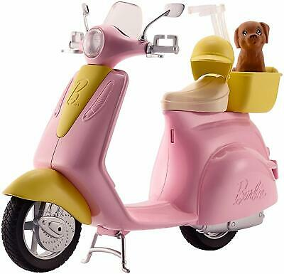 Barbie Scooter Puppy Pink Yellow Silvery Accents Basket Helmet Kickstand Moped